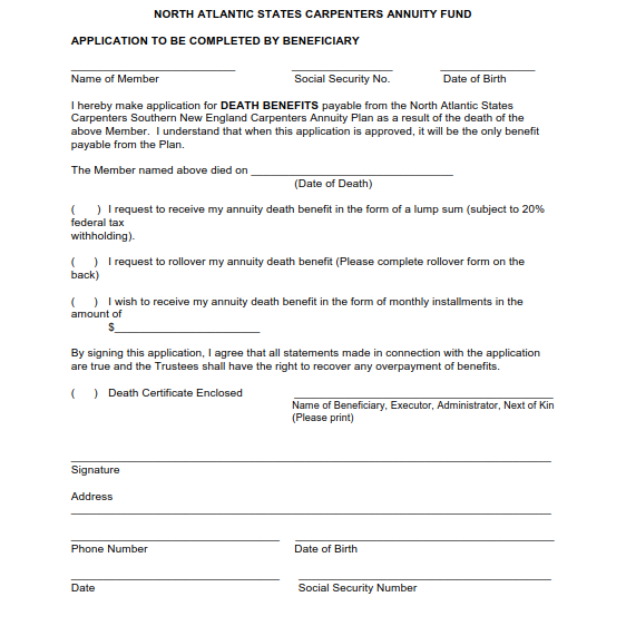 Annuity Death Benefit Application