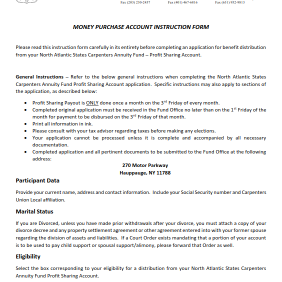 Annuity Money Purchase Instructions
