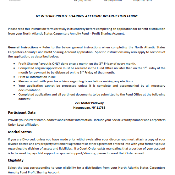 Annuity Profit Sharing Instruction Form